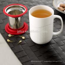 Tasse de thé en céramique 400cc avec couvercle