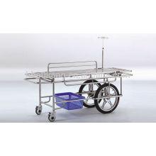 Edelstahl medizinische Trage mit 2 großen 2 kleinen Rädern E-6