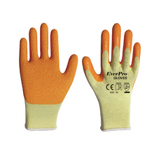 10G 5 Yarn Yellow Polyester Dip Latex Crinkle Gloves for Industrial Construction