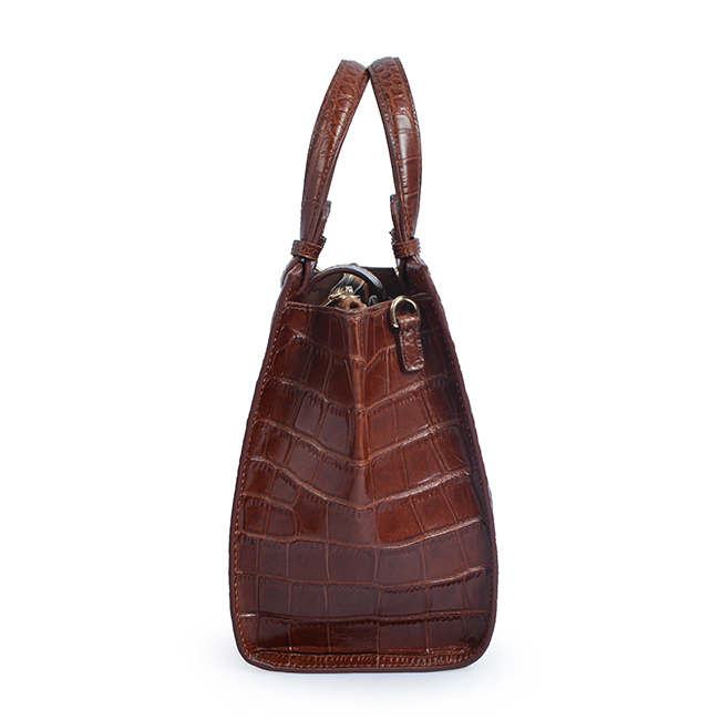 Ladies fashion crocodile leather bag zip lock tote bag