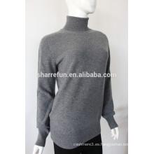 Fabricante 12gg rollo cuello mongolia de punto plano 100% puro suéter de cachemira