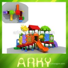2015 vente chaude plastique enfants toboggan extérieur terrain de jeu parc jardin structure de jeu
