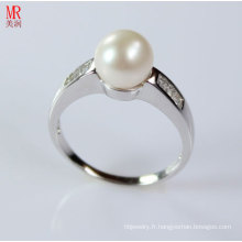 Bague de perles naturelles AAA avec zircon (ER1605)