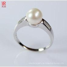 AAA Grade Natürlicher Perlenring mit Zirkon (ER1605)
