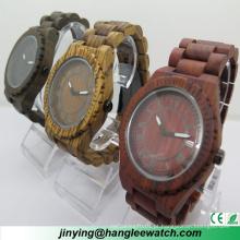 Hl-W010 OEM zebra madeira vermelho sândalo ébano relógio de quartzo
