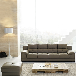 Leather Sleeper Sectional Sofa Set With Ottoman