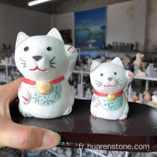 Chat fortune en jade blanc