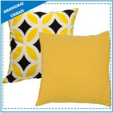 Bright Yellow Diamond Printed Polyester Throw Pillow
