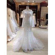 Weg von der Schulter lange Hülsen-Nixe-Hochzeits-Kleid