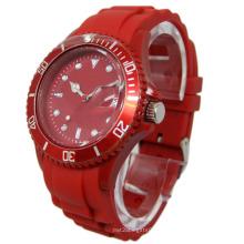 Montre à bracelet en silicone rouge