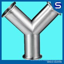 Encaixe de tubulação sanitária de aço inoxidável / Y tee