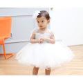 Белые Кружева С Коротким Рукавом Тюль ChiffonTutu Платье Паффи Цветочница Платье Шляпа Бантом