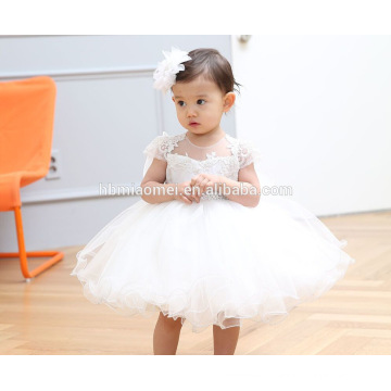 White Lace Short Sleeve Tulle ChiffonTutu Dress Puffy Flower Girl Dress Hat Bowknot