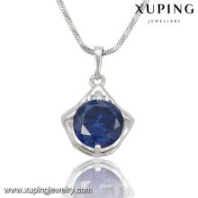 32702 Mode élégante chaîne de bijoux en cristal pendentif en couleur rhodium