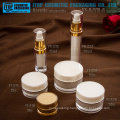 Classical hot-selling luxury double layers round acrylic lotion bottle and cream jar empty plastic cosmetic packaging