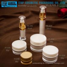 Clásico caliente-venta lujo doble capas redondo botella de la loción de acrílico y empaquetado cosmético plástico vacío de tarro de crema