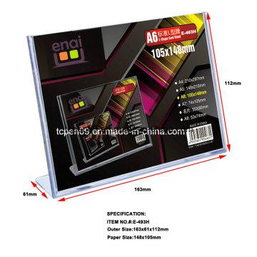 Suporte de cartão de exibição de plástico transparente de alta qualidade PS para publicidade