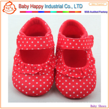 Прекрасные 0-24 месяца горячие красные пятнистые детские туфли