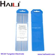Électrode de tungstène de cérium pour le soudage Tig WC20