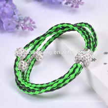 3 capas de perlas de shambala cuerda pulsera hecha a mano