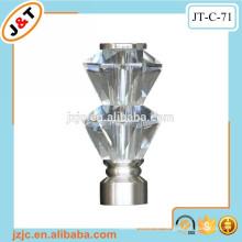 Hohlmetall gebogene Vorhangstangen mit Glasendkappen