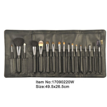 17pcs studio black plastic handle aniamal/nylon hair makeup brush tool set with black PU leather holder