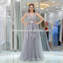 Aliexpress hot sell sleeveless beautiful bridal gown grey color laced deep v-neck evening dress long sleeve
