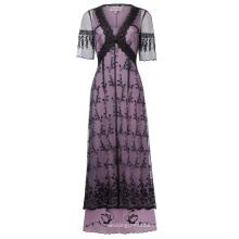 Belle Poque Mujeres Atractivas Vintage Retro Medias V-cuello Negro Encaje Estilo Victoriano Vestido BP000247-1
