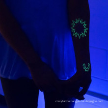 Glow in dark tattoo sticker party tattoo sticker Non-toxic tattoo colorful design with competitive price