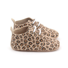 Leopard Back Strap Soft Sole Baby Oxford Skor