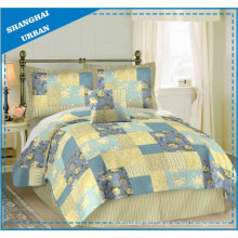 Yellow Blue Roses Printed Patchwork Quilt