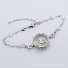 2015 Hot usine prix argent cristal vis flottant médaillon chaîne bracelet