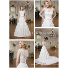 2014 Alibaba Garden Robe de mariée Scoop Neck Longue queue en dentelle robe de bal Robe de mariée avec Bow Sash Accent NB0632