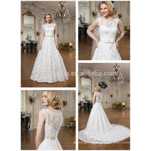 2014 Alibaba Garden Wedding Dress Scoop Neck Long Tail Lace Ball Gown Bridal Gown With Bow Sash Accent NB0632