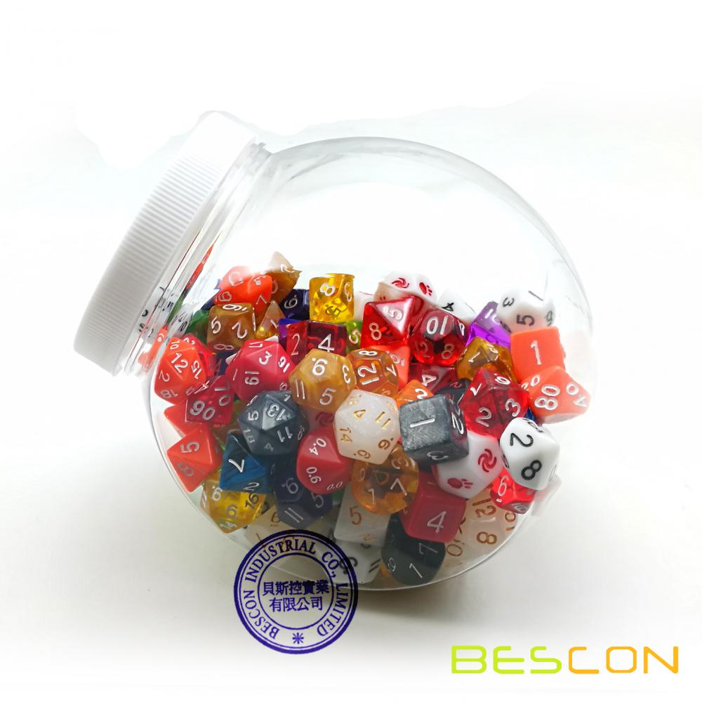 Assorted Dice Set in Clear Dice Jar Packaging