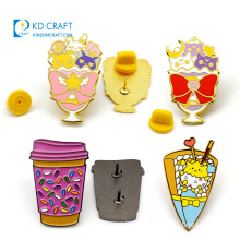Manufacturer Bulk Cheap Custom Design Metal Enamel Glitter Environmental Milk Tea Drink Bottle Global Coffee Cup Lapel Pin for Decorative