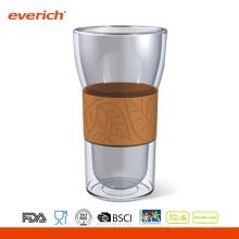 El OEM acepta la taza de cristal de encargo del café de Eco-amistoso