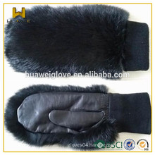 Knitting wool liner ladies fur cuff leather gloves mittens for winter