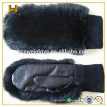 Tricô lã forro senhoras pele luvas de couro luvas luvas para o inverno