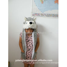 Plush wolf head hats with long earflap and pockets