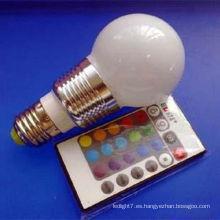 RGB Aluminio E27 3w LED en forma de pera bombilla LED