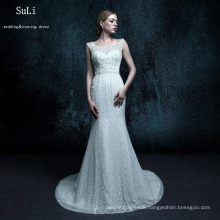 ZXB27 Mermaid Backless Lace Up Beads Floor length Court Train Long Dresses Custom Made Newest Wedding Dress