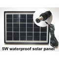 Portable camping home solar lighting system with 5w solar panel