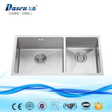 Outdoor CUPC American stainless steel 304 kitchenware 33x18 inch undermount corner double bowl handmade sink Foshan factory