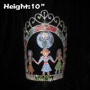 Coronas de certamen de cristal Globle de 10 pulgadas de altura al por mayor