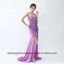Mulheres Luz Roxo Sem Mangas Sexy Evening Party Prom Dress