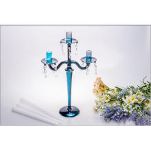 Blue Three Poster Candle Holder for Wedding Decoration