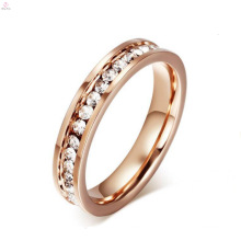 Hot Sale Brushed Stainless Steel White Stone Rose Gold Rings For Women