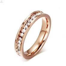 Venda quente Escovado Aço Inoxidável Pedra Branca Rosa Anéis De Ouro Para As Mulheres