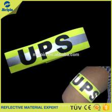 Brazalete reflectante de deportes fluorescente amarillo o naranja de alta visibilidad personalizado